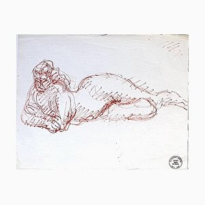 Nude - Original Red Pen Drawing by S. Goldberg - Mid 20th Century Mid 20th Century