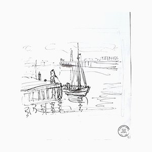 Seascape - Original Ink Drawing by S. Goldberg - Mid 20th Century Mid 20th Century
