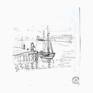 Seascape - Original Tuschezeichnung von S. Goldberg - Mid 20th Century Mid 20th Century