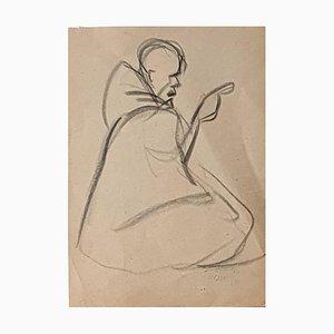 Figurine - Original Charcoal Drawing by Hélène Vogt - 1970s 1970s