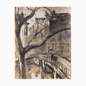 Landscape - Original Watercolor on Paper - Mid 20th Century Mid 20th Century
