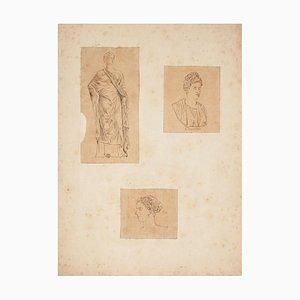 Ancient Romans - Original China Ink Drawing - Mid 19th Century Mid 19th Century