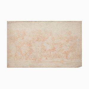 Forest - Original Sanguine Drawing - 18th Century 18th Century