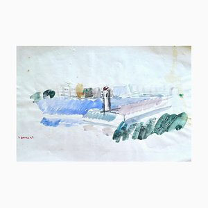 City View - Watercolor by French Master - Mid 20th Century Mid 20th Century