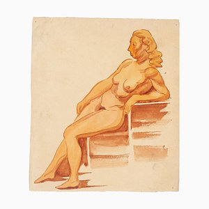 Nude Woman - Watercolor by French Master - Mid 20th Century Mid 20th Century