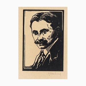 Portrait - Original Holzschnitt von M. Callet-Carcano - Mid 20th Century Mid 20th Century