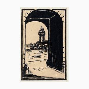 In Richtung Brücke - Original China Tinte und Aquarell - Frühes 20. Jahrhundert Frühes 20. Jahrhundert