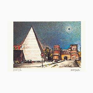 Piramide Cestia - Rome - Original Etching by Giuseppe Megna - 1972 1972