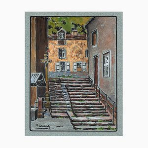 The Passage - Watercolor by French Master - Mid 20th Century Mid 20th Century