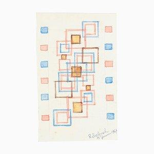 Composition Géométrique - Aquarelle sur Papier par J.-R. Delpech - 1969 1967