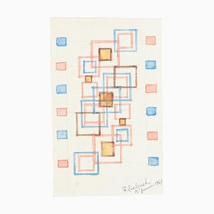 Geometric Composition - Watercolor on Paper by J.-R. Delpech - 1969 1967