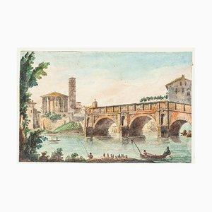 The Tiber Rome - Original Hand Watercolored Etching - 19th Century 19th Century