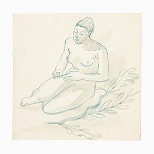 Desnudo - Watercolor on Paper de J.-R. Delivech, años 60