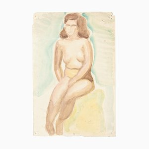 Nude - Watercolor on Paper by J.-R. Delpech - 1960s 1960s