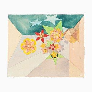 Fleurs - Aquarelle sur Papier par J.-R. Delpech - 1960s 1960s