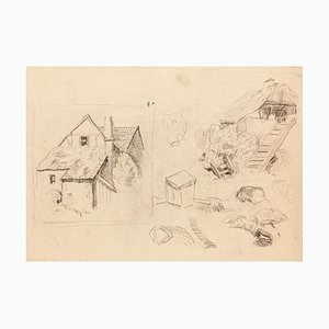 Cottage - Original Drawing in Pencil on Paper - 20th Century 20th century