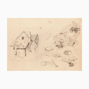 Cottage - Originalzeichnung in Bleistift auf Papier - 20. Jahrhundert 20. Jahrhundert