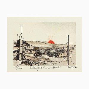 S. Angelo dei Lombardi - Original Lithographie von Giuseppe Megna - 1980 ca. 1980
