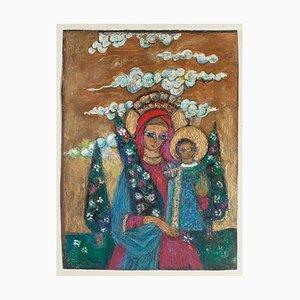 Madonna with Child - Original Ölgemälde auf Karton - 20. Jahrhundert 20. Jahrhundert