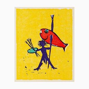 Painter Fisherman - Original Woodcut by Mino Maccari - Mid 20th Century Mid 20th Century