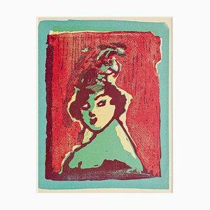 Woman - Original Woodcut by Mino Maccari - Mid 20th Century Mid 20th Century