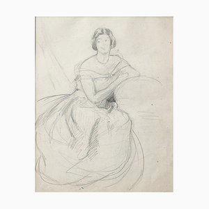 Portrait of Woman - Original Drawing in Pencil - 20. Jahrhundert 20. Jahrhundert