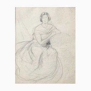 Portrait of Woman - Original Drawing in Pencil - 20th Century 20th Century