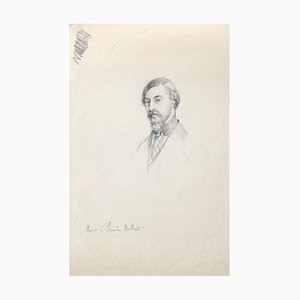 Portrait of C.H. Du Buit - Original Drawing in Pencil - Late 19th Century Late 19th Century