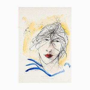Woman's Face - Original Lithography by Mario Ceriacca - Late 20th Century Late 20th Century