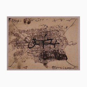 Central Writing - Vintage Offset Print After Antoni Tàpies - 1982 1982
