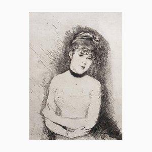 Jeune Femme - Original Etching by Giuseppe De Nittis - 1875-80 1875 - 1880