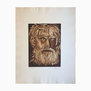 Head of Oedipus - Original Radierung von G. Manzù 1970