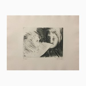 Artist and Model - Original Etching 1970 1970