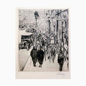 Downtown Paris - Original Radierung von Anselmo Bucci - ca. 1915 Ca. 1915