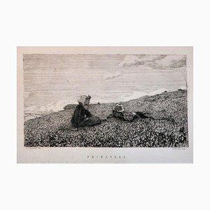 Spring - Original Etching by Telemaco Signorini - 1873 1873