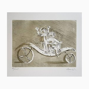 Mileto and Giulia in a Green Carriage - Original Etching by Giacomo Manzù 1970