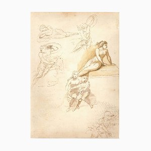 Studies on Women Figures - Original Ink Drawing by Anonymous Italian Artist 1800 First half of 19th Century