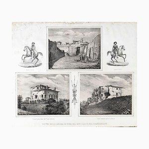 Ruins of War - Original Lithograph y Anonymous 19th Century Italian Artist 1878