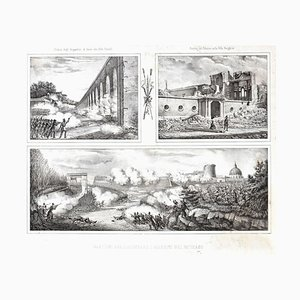 Ruins Of The Siege - Original Lithograph y Anonymous 19th Century Italian Artist 1878