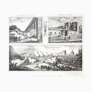 Ruins Of The Siege - Originale Lithographie y Unbekannter Künstler, Italien 1878