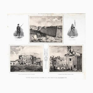 Ruins of Rome - Original Lithograph y Anonymous 19th Century Italian Artist 1878
