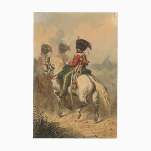 Cavalry - Original China Ink and Watercolor by Theodore Fort - 1844 ca. 1844