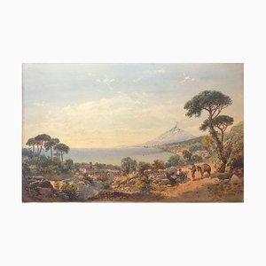 View Of Aetna From Taormina - Original Watercolor on Cardboard 1887