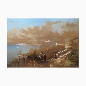 Bay of Naples 1857 - Original Watercolor and White Lead on Paper 1857