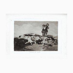 Enterrar y Callar - Original Etching by Francisco Goya - 1863 1863
