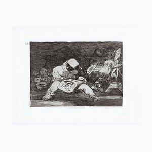 Que Locura - Original Etching by Francisco Goya - 1863 1863