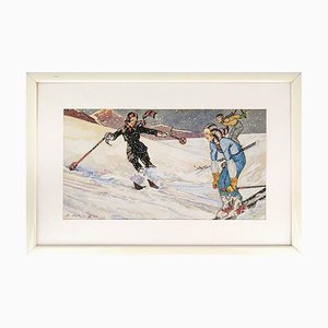 Skiers XII (December) - Original Tempera and Watercolor by Ernesto Dick - 1933 1933