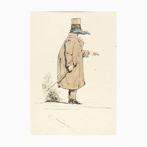 The Physician - Original Ink Drawing and Watercolor by J.J. Grandville 1845 ca.