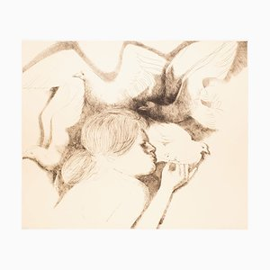 Dove and Seagulls - Original Radierung von Emilio Greco - 1983 1983