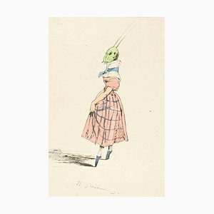 The Ballerina - Original Ink Drawing and Watercolor by J.J. Grandville 1845 ca.